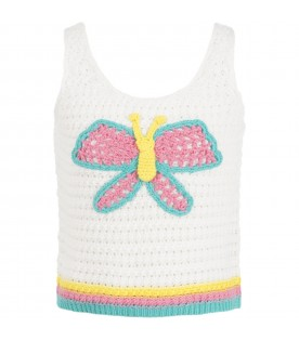 White tank top for girl with butterflay
