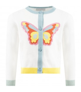 White cardigan for girl with butterfly