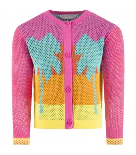 Multicolor cardigan for girl with palms