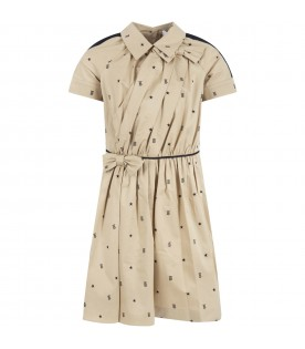 Beige dress for girl with stars