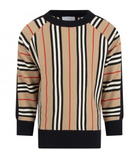 Beige sweat for kids with iconic stripes