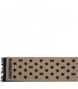 Beige scarf for kids with logo