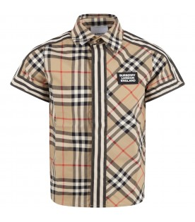 Beige shirt for boy with logo