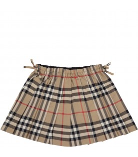 Beige skirt for baby girl with check