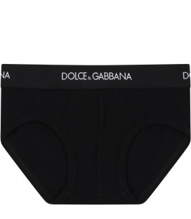 Black briefs for kids with logo