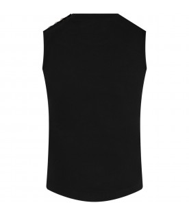 Black tank top for girl with logo