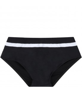 Black swim briefs for boy with logos