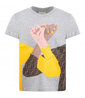 Grey T-shirt for kids with hands