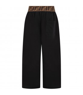 Black trousers for girl with double FF