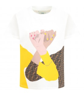 White T-shirt for kids with double FF