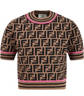 Brown sweater for girl with double FF