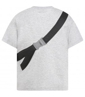 Gray T-shirt for boy with logo