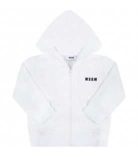 White sweatshirt for babyids with logo