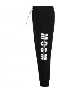Black sweatpants for kids with logo