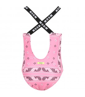 Pink swimsuit for girl with logo