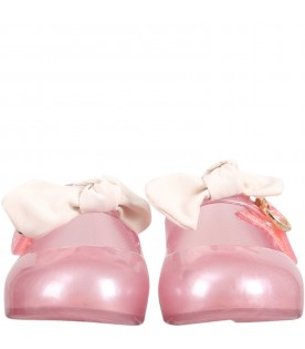 Pink ballerina flats for girl with bow