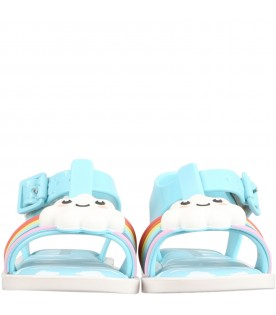 Light blue sandals for kids with cloud