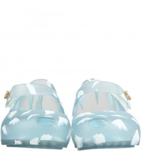 Light blue ballerina flats for kids with clouds