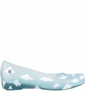 Light blue ballerina flats for girl with clouds