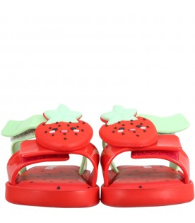 Red sandals for kids with strawberry
