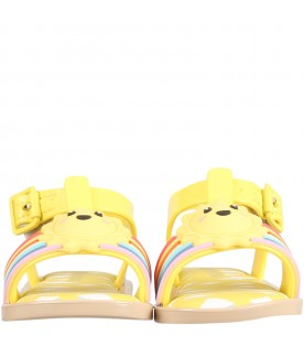 Yellow sandals for kids with sun