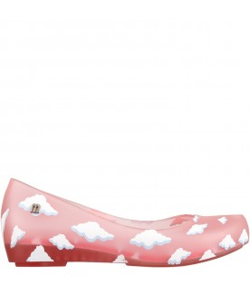 Pink ballerina flats for girl with clouds