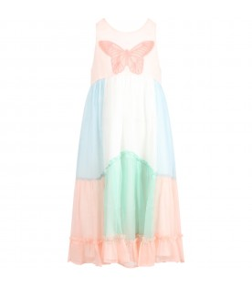 Muliticolor dress for girl with butterflay