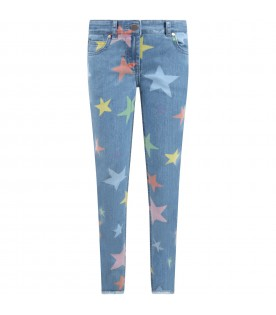 Light blue jeans for girl with stars