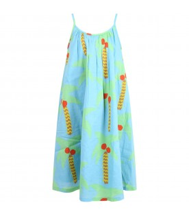 Light blue dress for girl with palm trees