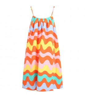 Orange dress for girl with waves