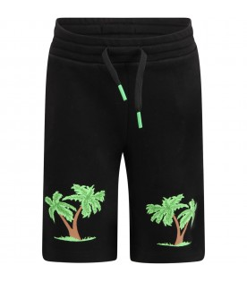 Black short for boy with palm trees