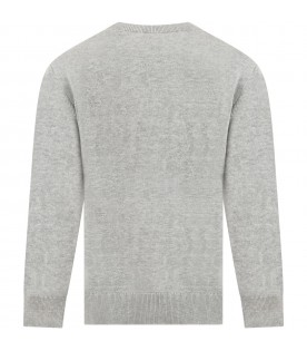 Grey sweater for boy with logo