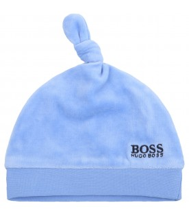 Light blue hat for babyboy with logo