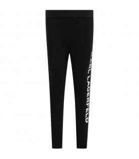 Black leggings for girl with logo