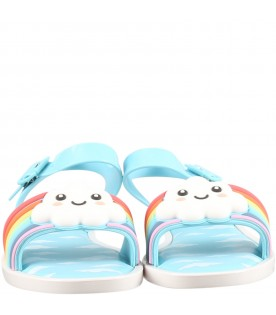 Light blue sandals for girl with cloud