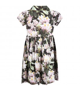 Multicolor ''Cybil'' dress for girl with flowers
