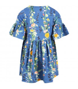 Blue ''Chasity'' dress for girl with flowers