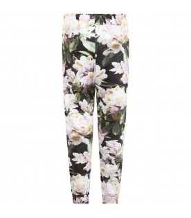 Black ''Alfrida'' sweatpants for girl with  flowers