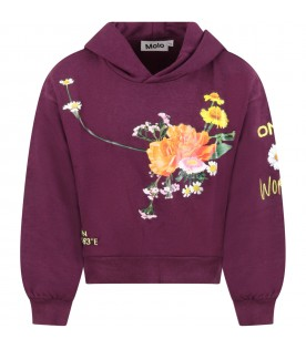 Purple ''Maren''sweatshirt for girl with flowers