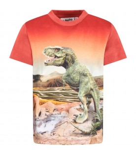 Orange ''Road'' T-shirt for boy with dinosaurs