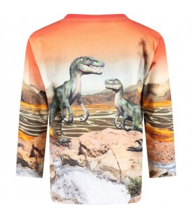 Orange ''Mountoo'' sweatshirt for boy with dinosaurs
