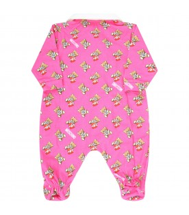 Fuchsia babygrow for babygirl with teddy bears