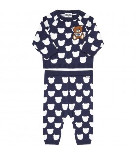 Blue jumpsuit for babykids with teddy bears