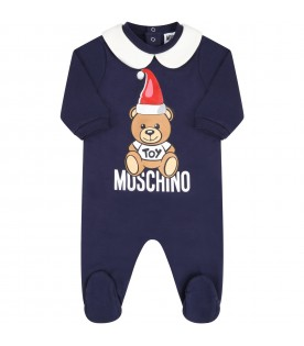 Blue set for babykids with teddy bear