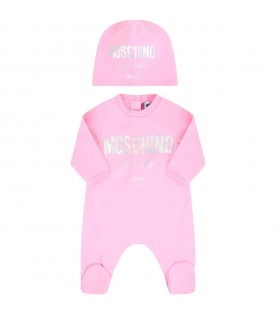 Pink suit for babygirl with logo