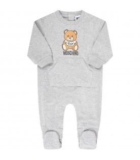 Grey babygrow  for babykids with teddy bear