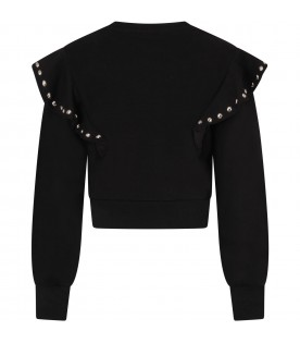 Black sewatshirt for girl with studs