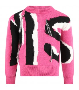 Pink sweater for girl with logo