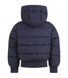 Blue jacket for kids with logo