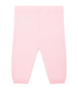 Pink trousers for babygirl with teddy bear